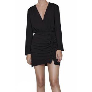 NEW Zara Draped Ruched Long Sleeve Mini Dress LBD
